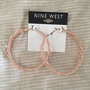 Nine West Gold Braided Hoops